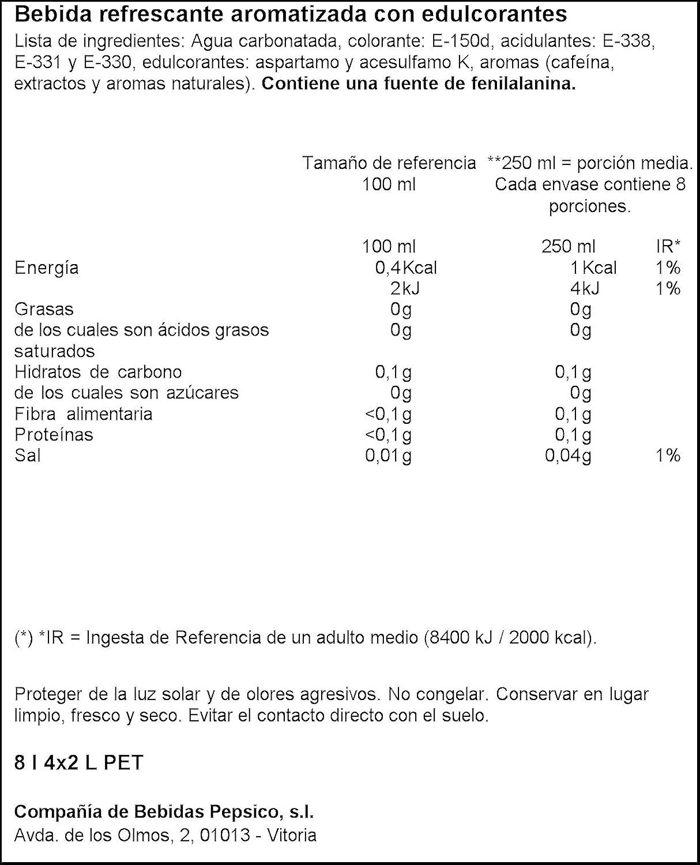Pepsi Light Refresco de Cola sin Calorías - Paquete de 4 x 2000 ml - Total: 8000 ml: Amazon.es: Amazon Pantry