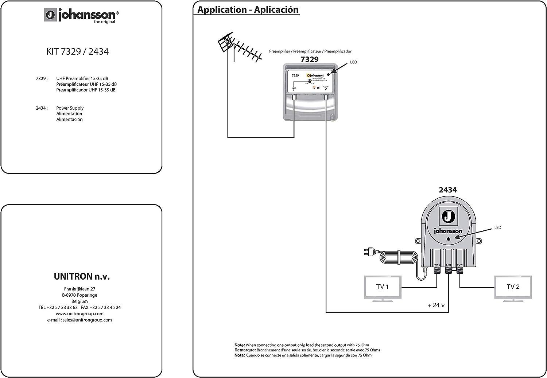 Johansson - Kit preamplificador de antena de TV para TDT HD con filtro 5G/LTE activo y fuente de alimentación, kit preamplificador UHF 15 a 35 dB + ...