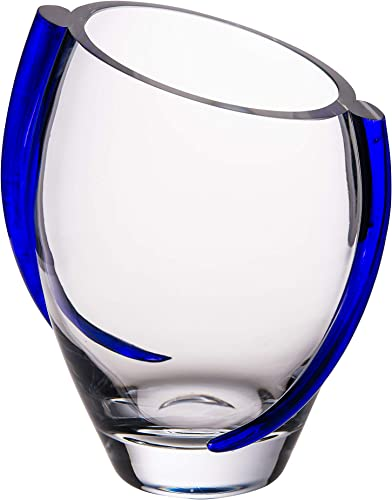 Barski Glass Vase with Cobalt Swirl – 9.25 H European Quality – Beautiful Designed with Blue Swirl – Mouth Blown – Hand Made – 9.25 Height – Made in Europe