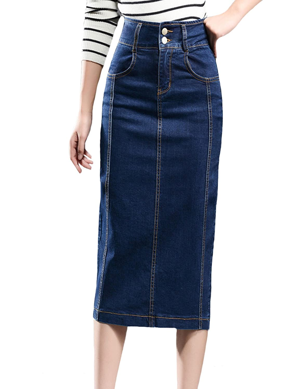 e4bf505f719 Soft stretch denim pencil skirts with sexy slit. High waist design