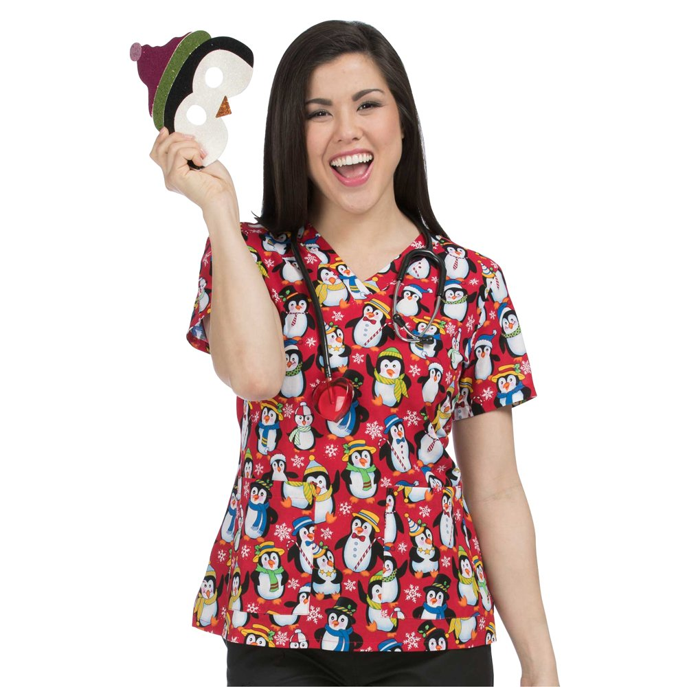 6cdb691283f Amazon.com: Med Couture 100% Cotton Penguin Dance V-Neck Medical Scrub Top:  Clothing