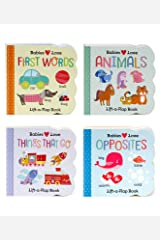 4 Pack Chunky Lift-a-Flap Board Books: First Words/Animals/Opposites/Things That Go (Babies Love) Board book