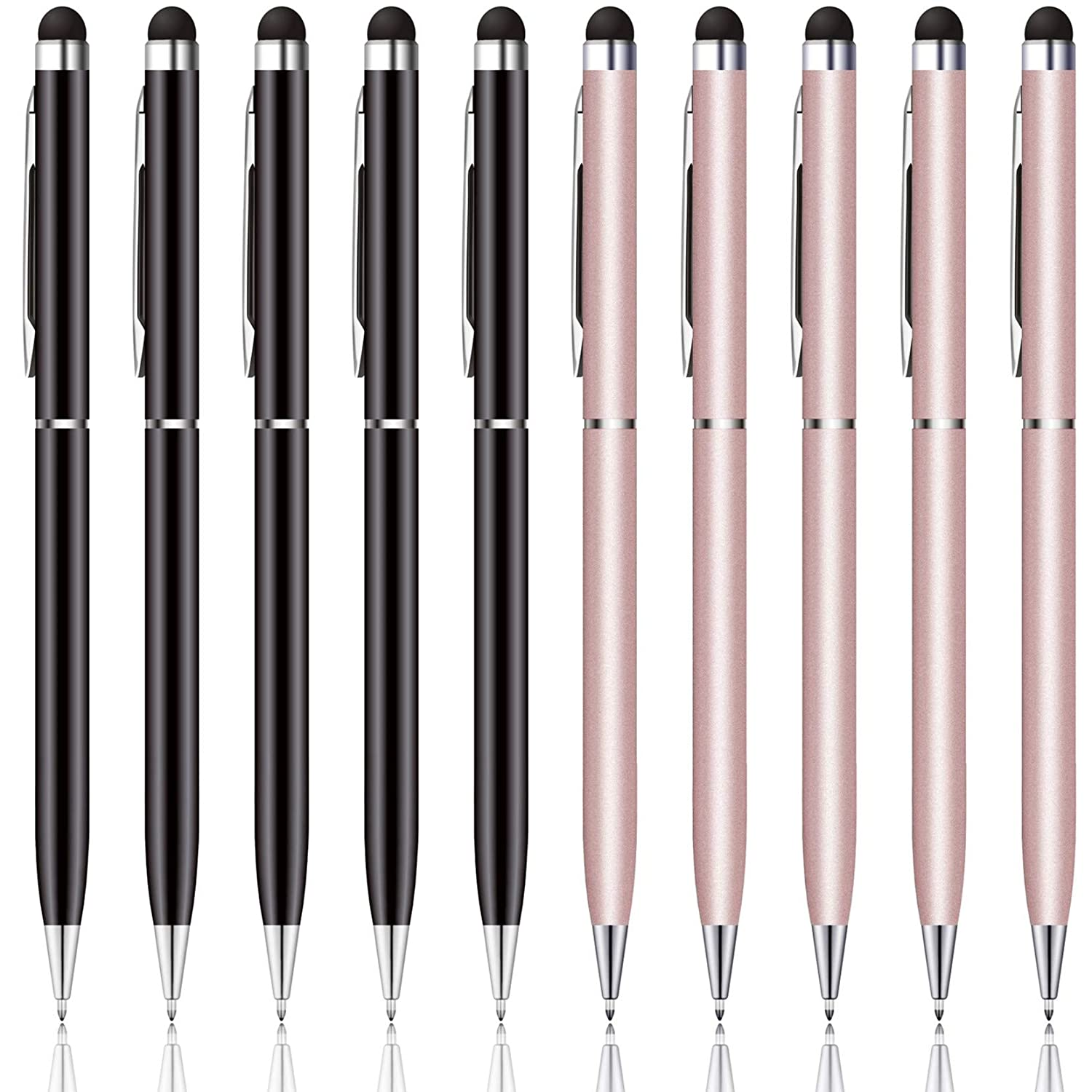 anngrowy Stylus Pens for Touch Screens Devices Universal Capacitive Stylus Ballpoint Pen for iPad Cell Phones Tablets Laptops All Capacitive Touch Screens, 2 in 1 Stylus Pen