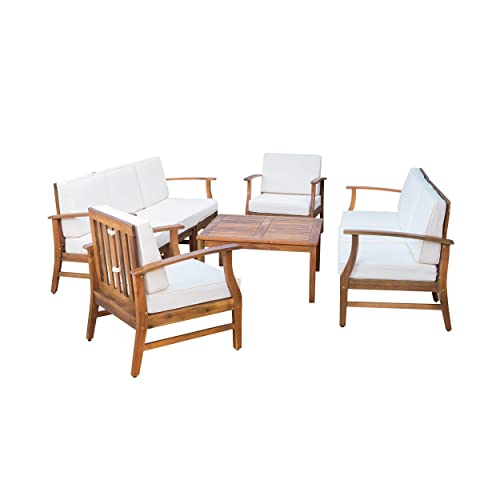 Lorelei Outdoor 8 Seater Teak Finished Acacia Wood Double Sofa and Club Chair Set
