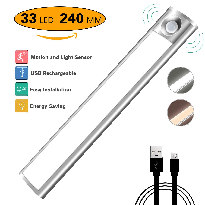モーションセンサーライトワイヤレス33-led構築240 mmバーUSB充電式バッテリー3 M磁気テープ4モードポータブルDIYスティックオンNight Light B0799GZRW5 13396 ピュアホワイト ピュアホワイト