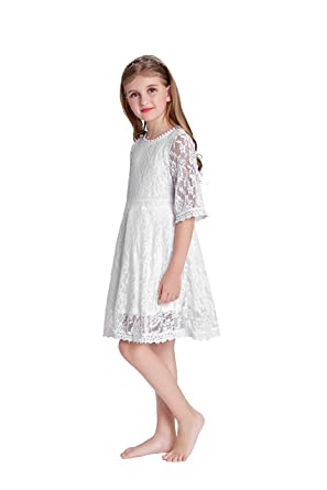 57dcec6fb833 Amazon.com  Danna Belle Kids Little Girls White Lace Dress  Clothing