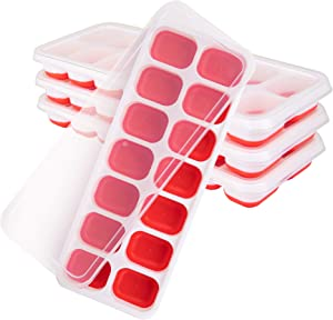 Ice Cube Trays 4 Pack - Silicone Ice Cube Tray with Lid Super Easy Release Ice Cube Molds - Stackable Silicone Ice Tray Durable and Dishwasher Safe - for Food, Cocktail, Whiskey, Chocolate