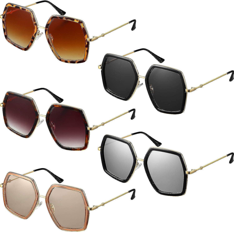 5 Piezas Gafas Hexagonales Irregulares Gafas de Sol de Gran Tama/ño Gafas Vintage de Marco de Dise/ños M/últiples para Mujeres