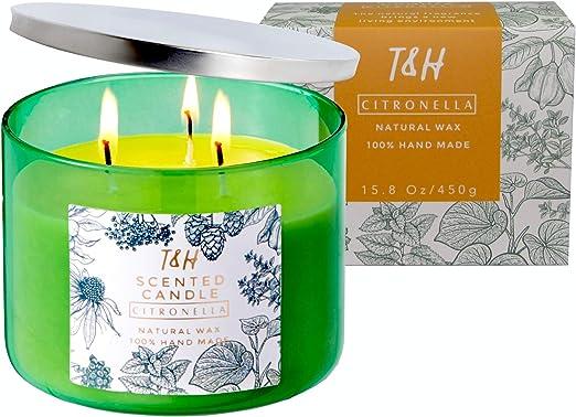 Amazon.com: T&H - Vela aromática de cera de soja de 3 mechas ...