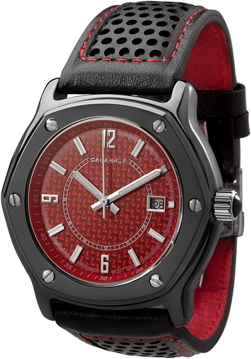 CALABRIA – Furtiva CarboTech Limited – Red Carbon Fiber Dial, Men s Watch, Leather Band