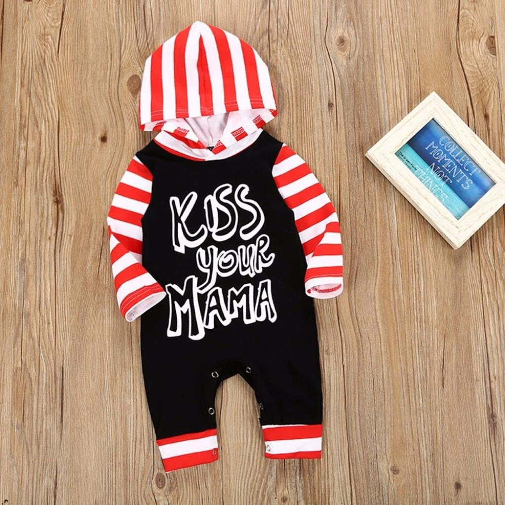 Sunbona Newborn Baby Boys Letter Striped Hooded Romper Jumpsuit Pajamas Outfits Clothes