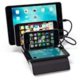 Displays2go Countertop Charging Dock with Wireless Pad, 4 USB Ports - Black (CHRGDCK4)