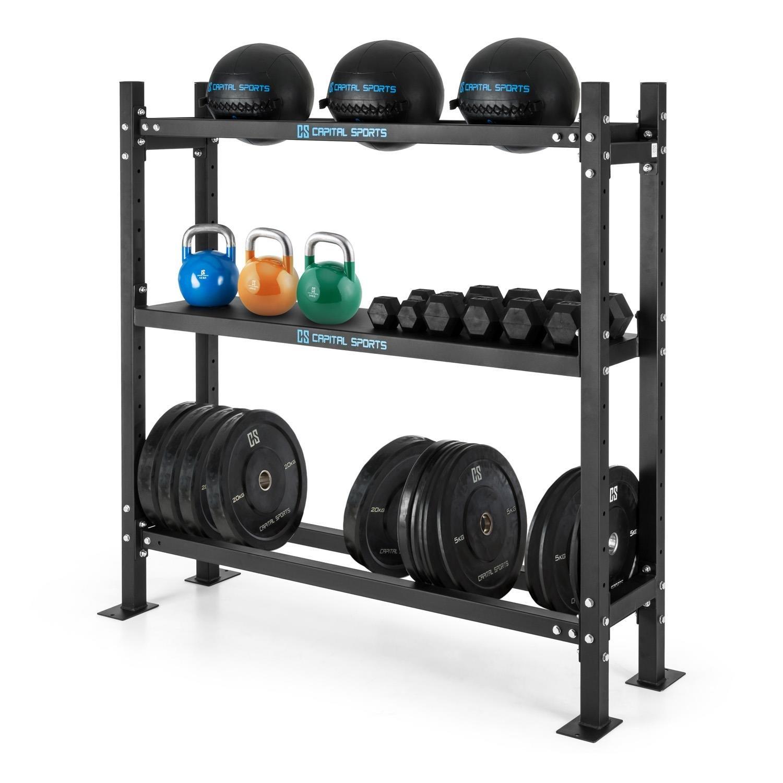 Capital Sports Traytor A Estantería para pesas (3 estantes de acero, para guardar pesas, barras o balones, altura regulable, posibilidad de atornillar al ...