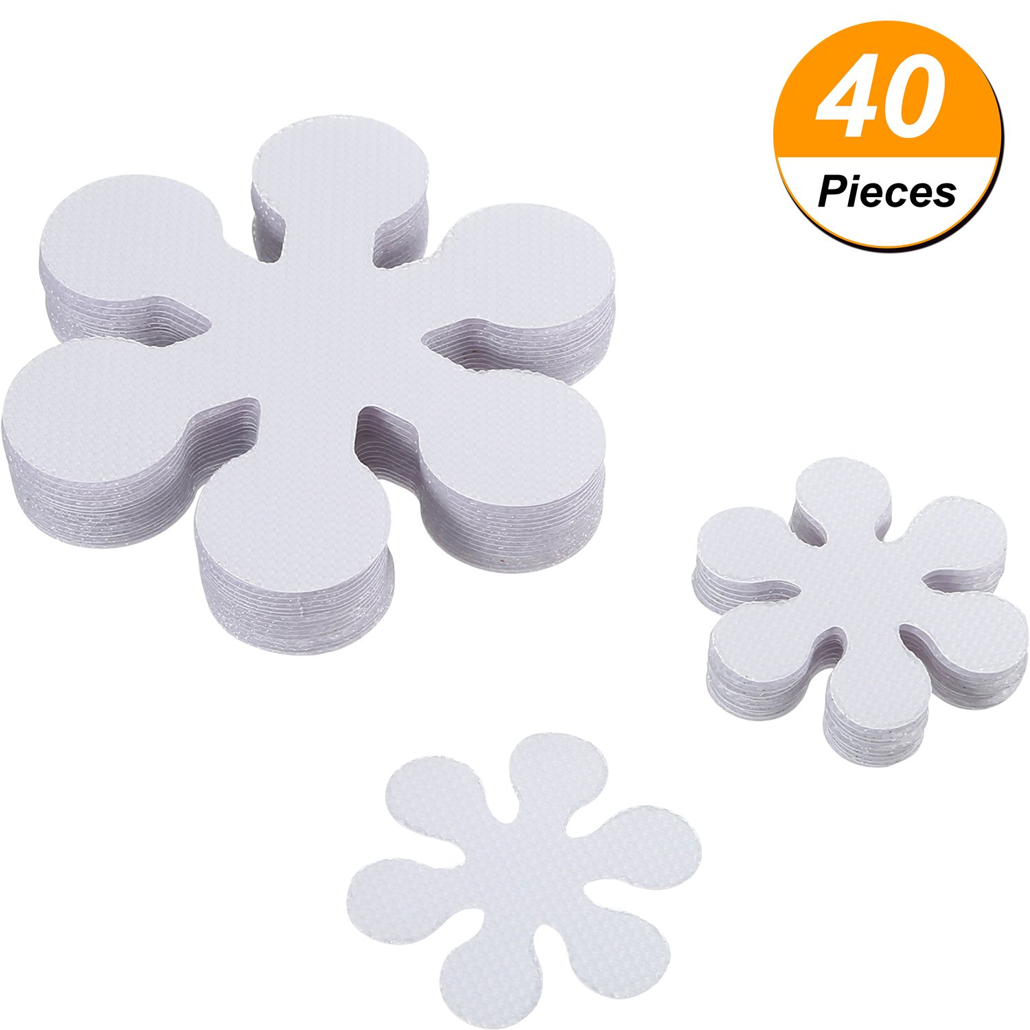Jovitec 20 Pieces 10 cm/4 Inch Non Slip Bath Stickers Adhesive Safety Shower Treads with 20 Pieces 5 cm/2 Inch Anti Slip Bathtub Decals Stickers, Clear, Flower Shaped (Total 40 Pieces)
