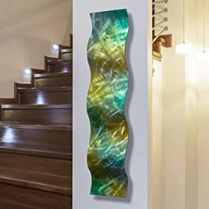 """Statements2000 Fusions of Pecan and Green Jewel Tones Wall Accent - Metal Wall Art Home Decor Accent - Rainforest Wave by Jon Allen - 46"""" x 10"""""""