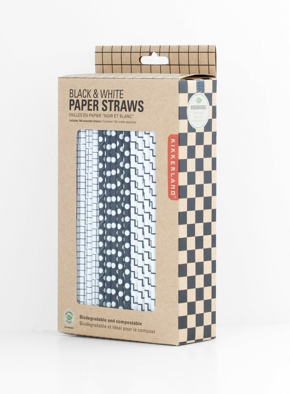 kikkerland biodegradable paper straws blue and white striped box  - kikkerland biodegradable paper straws blue and white striped box of amazonca home  kitchen
