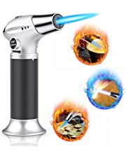 Blow Torch, Professional Kitchen Cooking Torch with Safety Lock Adjustable Flame Refillable Mini Blow Torch Lighter for Crafts Cooking BBQ Baking Brulee Creme DIY Soldering(Butane Gas Not Included)