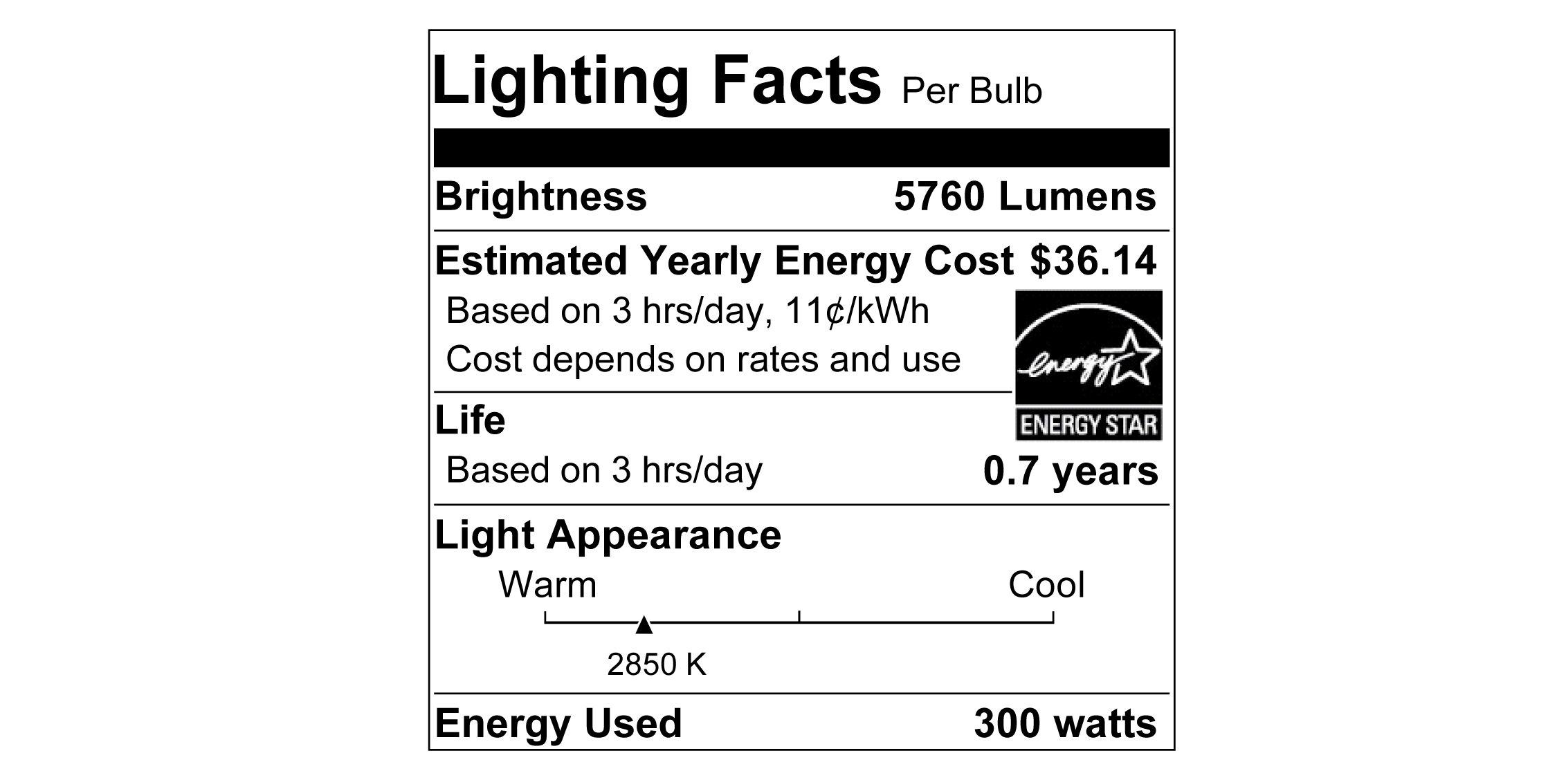 Sylvania 15738 Incandescent Lamp, 300 W, 130 V, Ps30, Medium Screw, 750 Hr, 6 Pack, 6 Bulb