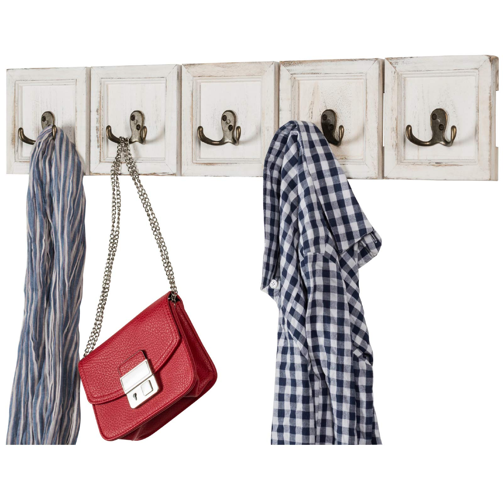 Rustic Wall Mounted Coat Rack with 5 Double Hanging Hooks. Overall Size is 30.5''x6''. Use as Coat Rack, hat Organizer, Key Holder. Perfect for Entryway, Mudroom, Kitchen, Bathroom, Hallway, Foyer by Excello Global Products