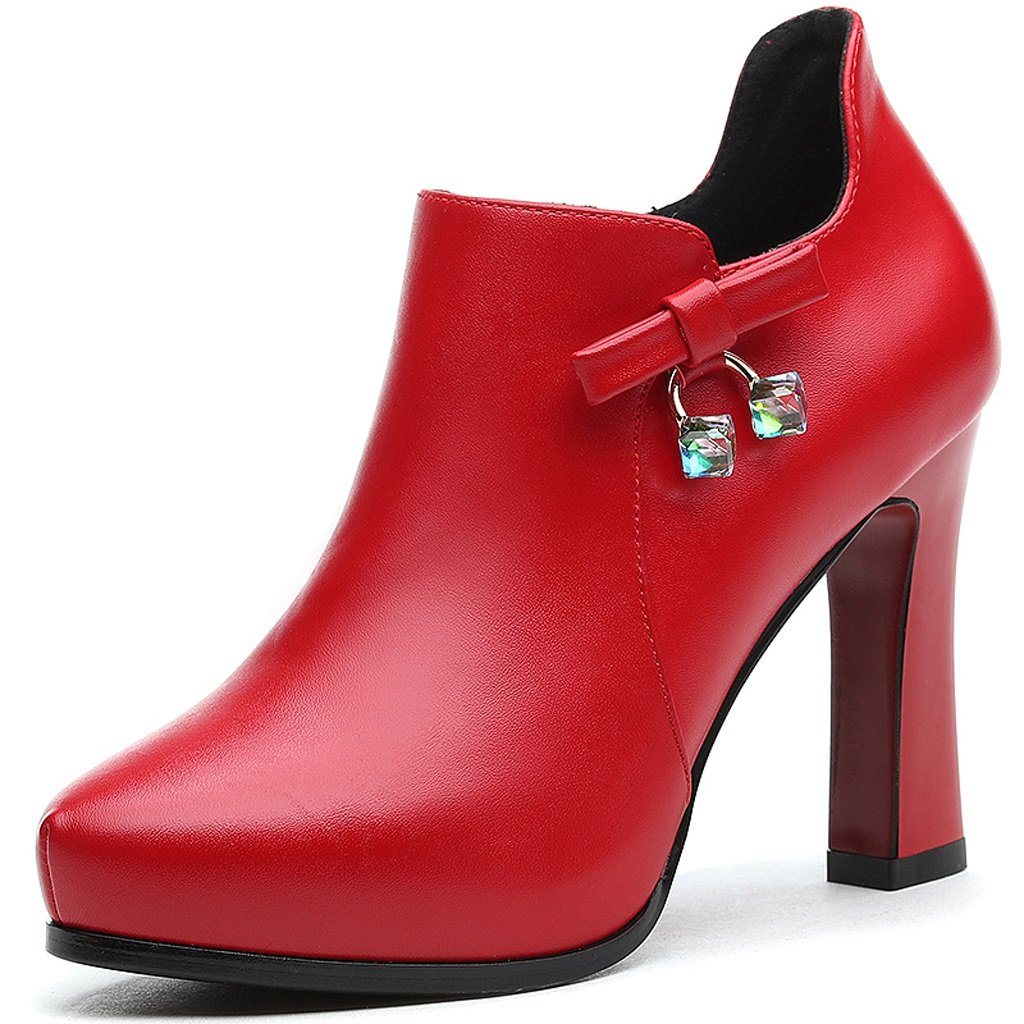Women's high heels Spring and Autumn models waterproof thin section of professional shoes ( Color : Red , Size : US:7UK:6EUR:39 )