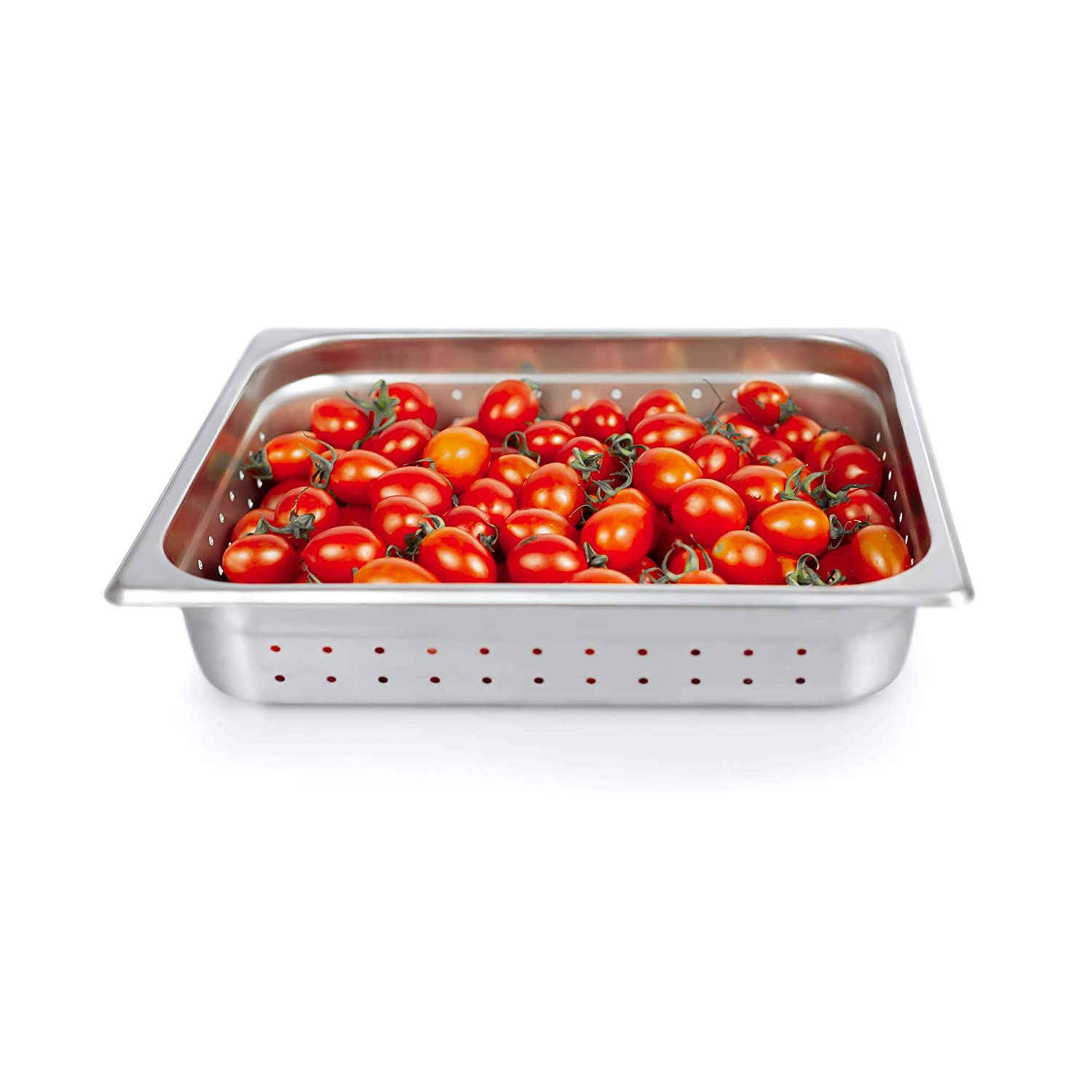 """2 1/2"""" Deep Steam Table Pan Half Size, Kitma 4 Quart Stainless Steel Anti-Jam Standard Weight Hotel GN Food Pans - NSF (12.8""""L x 10.43""""W)"""