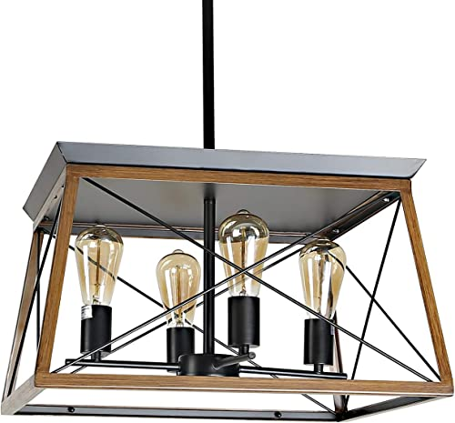 XIPUDA 4-Light Farmhouse Ceiling Pendant Light Fixture Kitchen Island Lighting Antique Industrial Metal Chandeliers Walnut