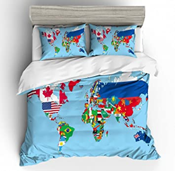 APJJQ Christmas Blue Map of World Bedding Set Twin Size for Teens 3D Print  National Flags of Countries into World Map Duvet Cover Set for Boys Girls  ...