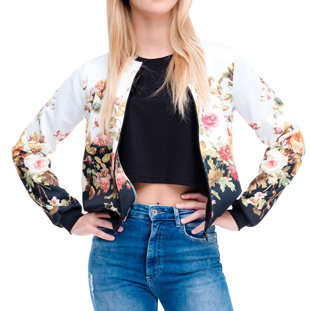 Bomber Jacket White Women Flower Print 3d Sexy Shirt Zipper Long Sleeve T Shirt