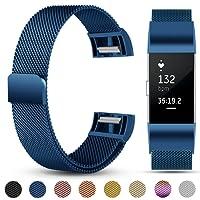 Für Fitbit Charge 2 Armband, eDriveTech Milanese Edelstahl Metallarmband mit Einzigartiger Magnetverriegelung Uhrenarmband Verstellbarem Ersatzband Armbänd für Fitbit Charge 2 Fitness Tracker Zubehör
