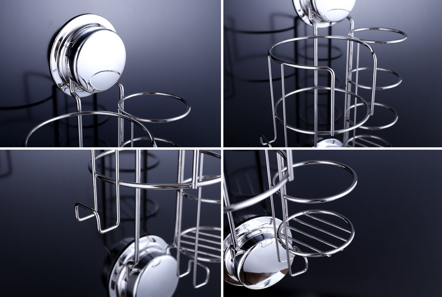 15 x 9 x 23.5cm//5.9 x 3.5 x 9.3 inches Stainless Steel Hairdryer Holder with Cable Holder for Hair Straighteners//Curling Iron Installation by Suction Cups or Screws Ecoart