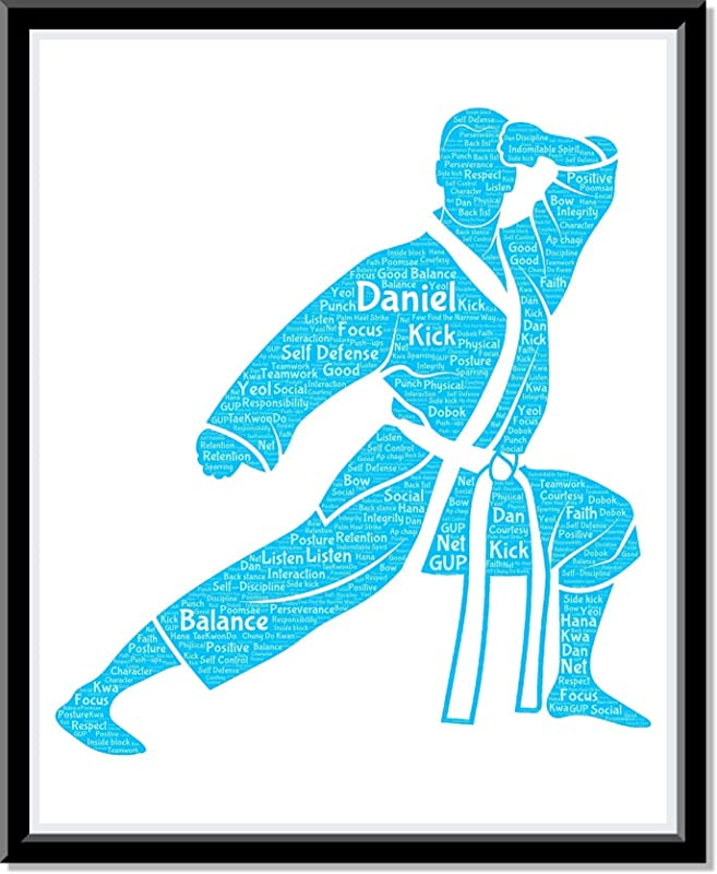 Kung Fu Poster Boys Wall Art, Personalized Mens Martial Arts Print Decor, Kung Fu gifts for him, Birthday Gifts for boys, Word Art Typography Man Fighting Pose, Custom Print for Wall Decor…