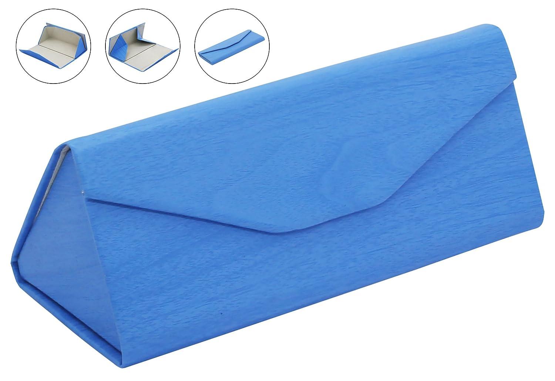 LUCKLYSTAR® Custodia per occhiali da sole Custodia per occhiali pieghevole a forma di Creative triangolare scatola portaoggetti blu