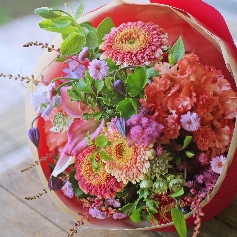 花束 生花 ギフト 3Lサイズ ( ピンク 系 ) 大臣賞受賞 デザイナー お任せ花束 B01M2YOUPS 通常配送|ピンク系 ピンク系 通常配送