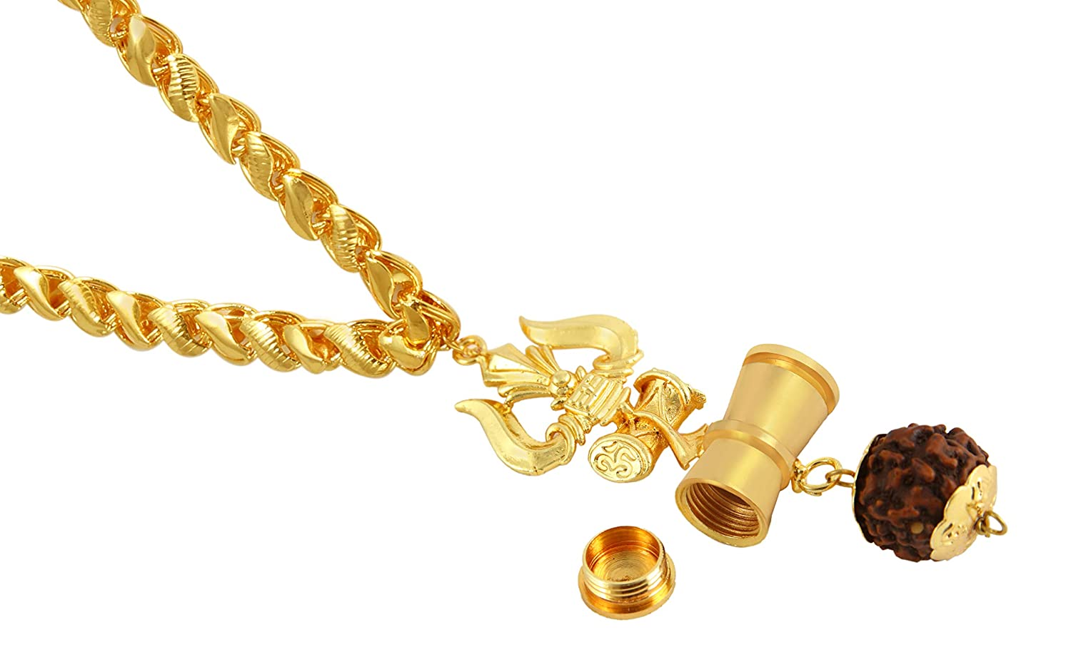 Charms Gold Plated Trishul Inspired Panch Mukhi Rudraksh Pendant with Chain for Men & Women