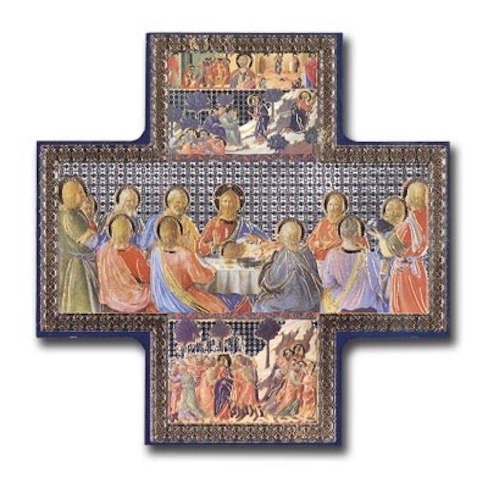 Image en forme de croix représentant la Cène - Peinture métallisée dorée et argentée - Icône à suspendre au mur - 15, 2x 15, 2cm - Jésus et ses disciples CBC