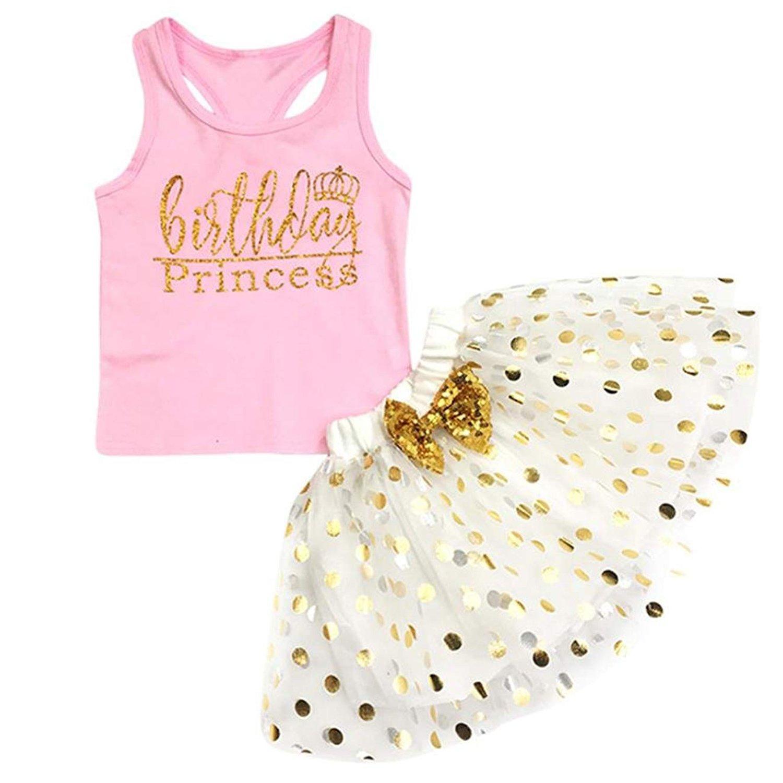 Toddler Kids Baby Girls Outfits Birthday Princess Top Sleeveless T-Shirt +Dot Bubble Skirt Summer Clothes Set (Pink, 24 Months)