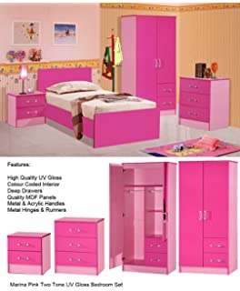 pink and white bedroom furniture. MARINA ULTRA HIGH GLOSS 3 PIECE TRIO BEDROOM SETS FURNITURE UNITS (PINK TWO TONE Pink And White Bedroom Furniture O