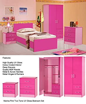 Girls Pink Gloss Bedroom Set 3 Piece - Wardrobe Chest Bedside - Marina Range