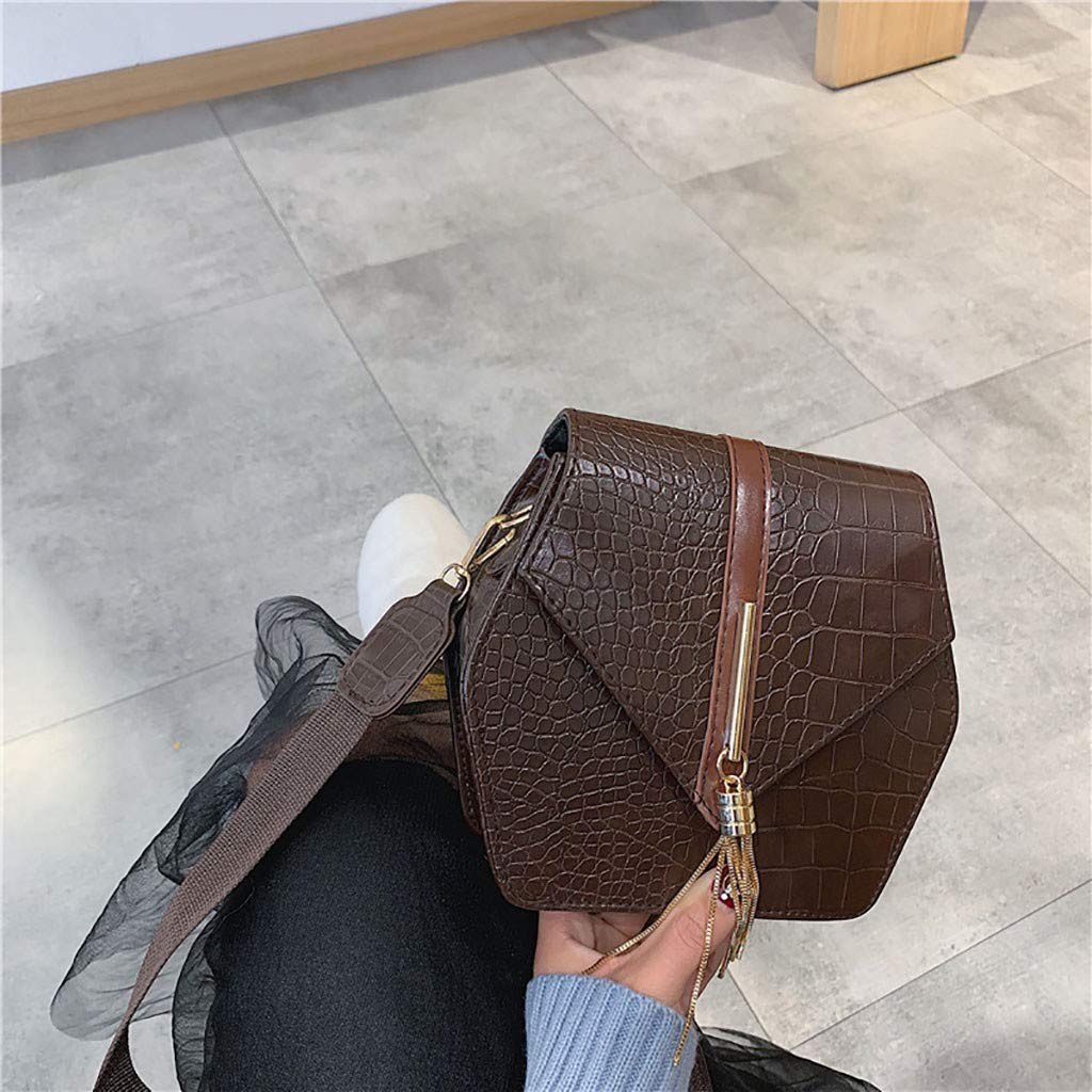 Women Wild Shoulder Bag Crocodile Small Square Bag Tassel Messenger Bag