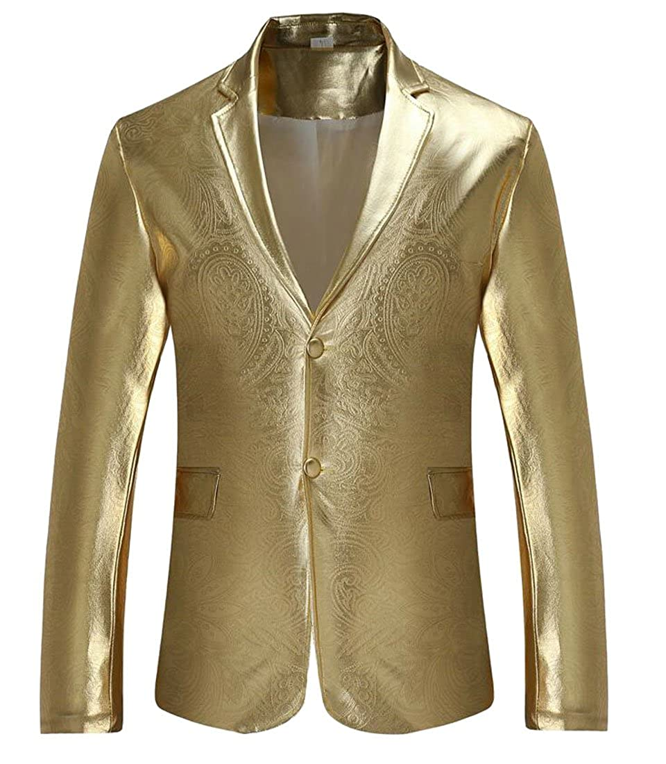 154fd0008 gold Oberora Men's Slim Night Club Metallic Two Two Two Buttons ...
