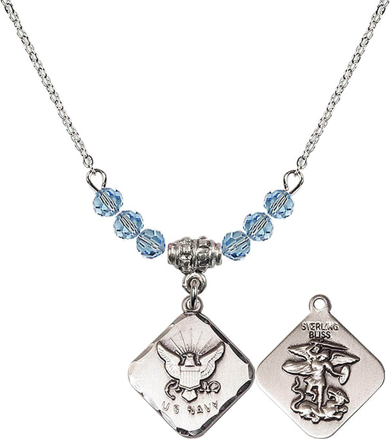 Bonyak Jewelry 18 Inch Rhodium Plated Necklace w// 4mm Blue March Birth Month Stone Beads and Navy Diamond Charm