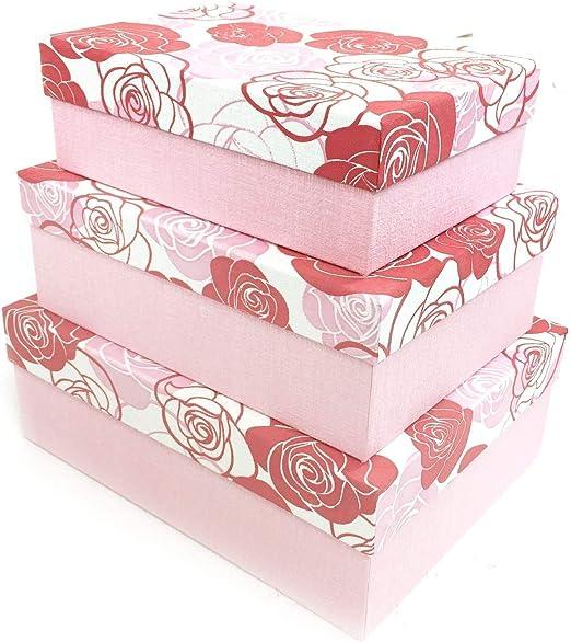 Rose Flor rectángulo cartón duro Craft almacenamiento Brithday de ...