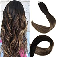 Full Shine 24 Pulgada Tape in Extensiones Color 1B Fading to #6 and #27 Honey Blonde Highlighted Ombre Extensions Cabello Human Hair Seamless Human Hair Glue Extensions 20 Piezas 50g Per Package
