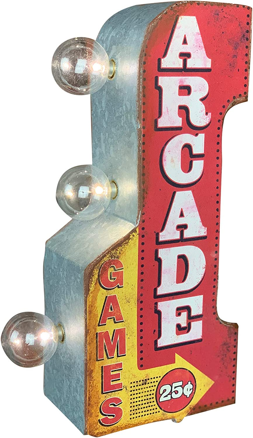 "Arcade Games Double Sided LED Sign, 12"" Arrow Shaped Design, Battery Powered"