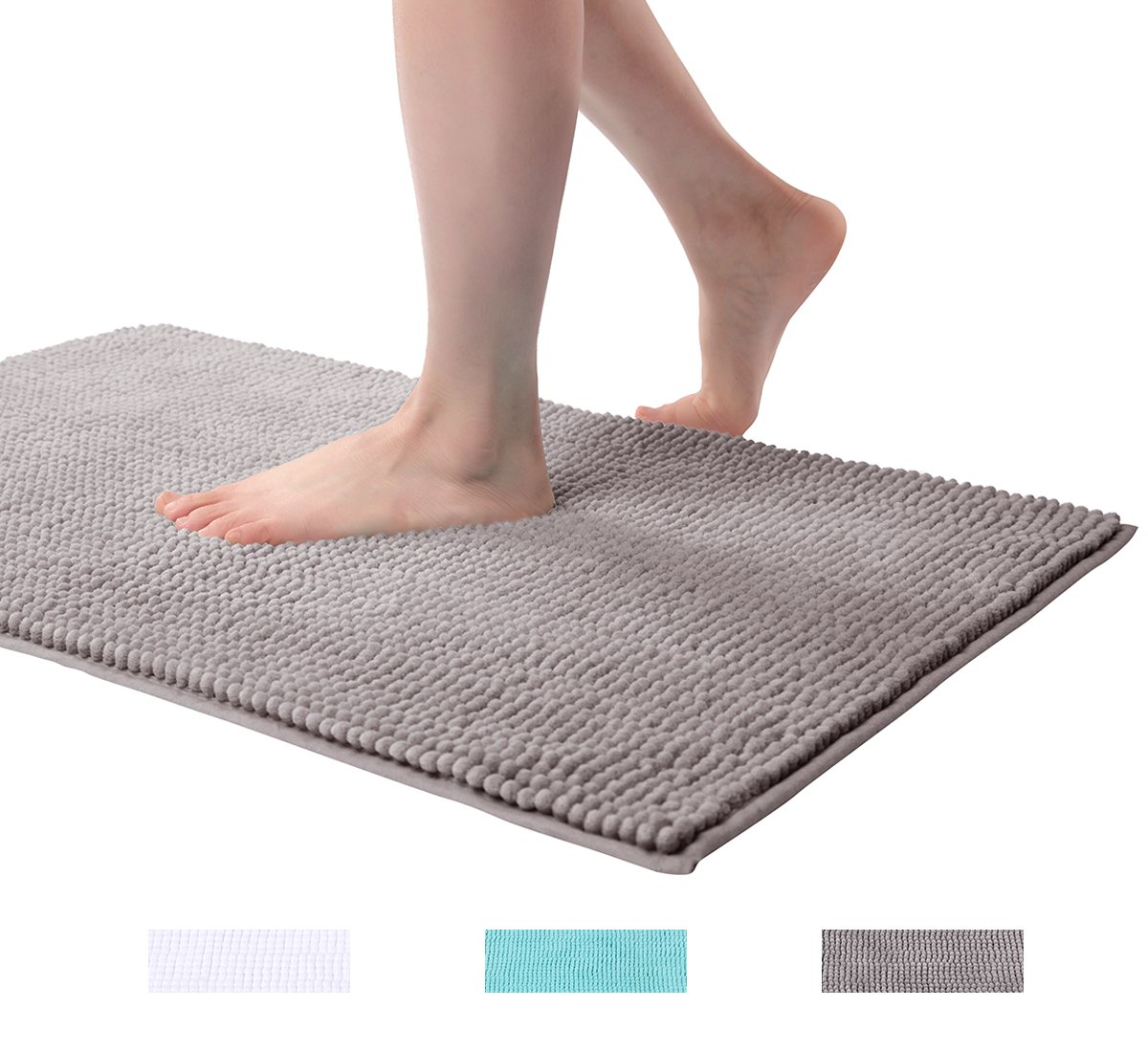 ELBASMT Bathroom Rugs Chenille Bath Floor Mat Phthalates Free, Antibacterial, Soft Microfibers (20'' x 32'', Light Gray) by ELBASMT