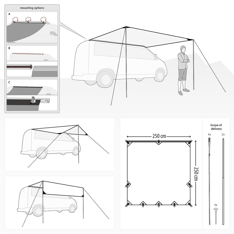 Qeedo Motor Tarp Taud de Soleil//Auvent//Voile dombrage pour Minibus Mobile Home ou Tente monospace Voiture