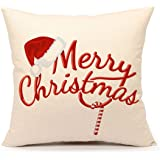 Red Merry Christmas Pillow Cover Decorative Throw Cushion Case Home Decor 18 x 18 Inch Cotton Linen for Sofa