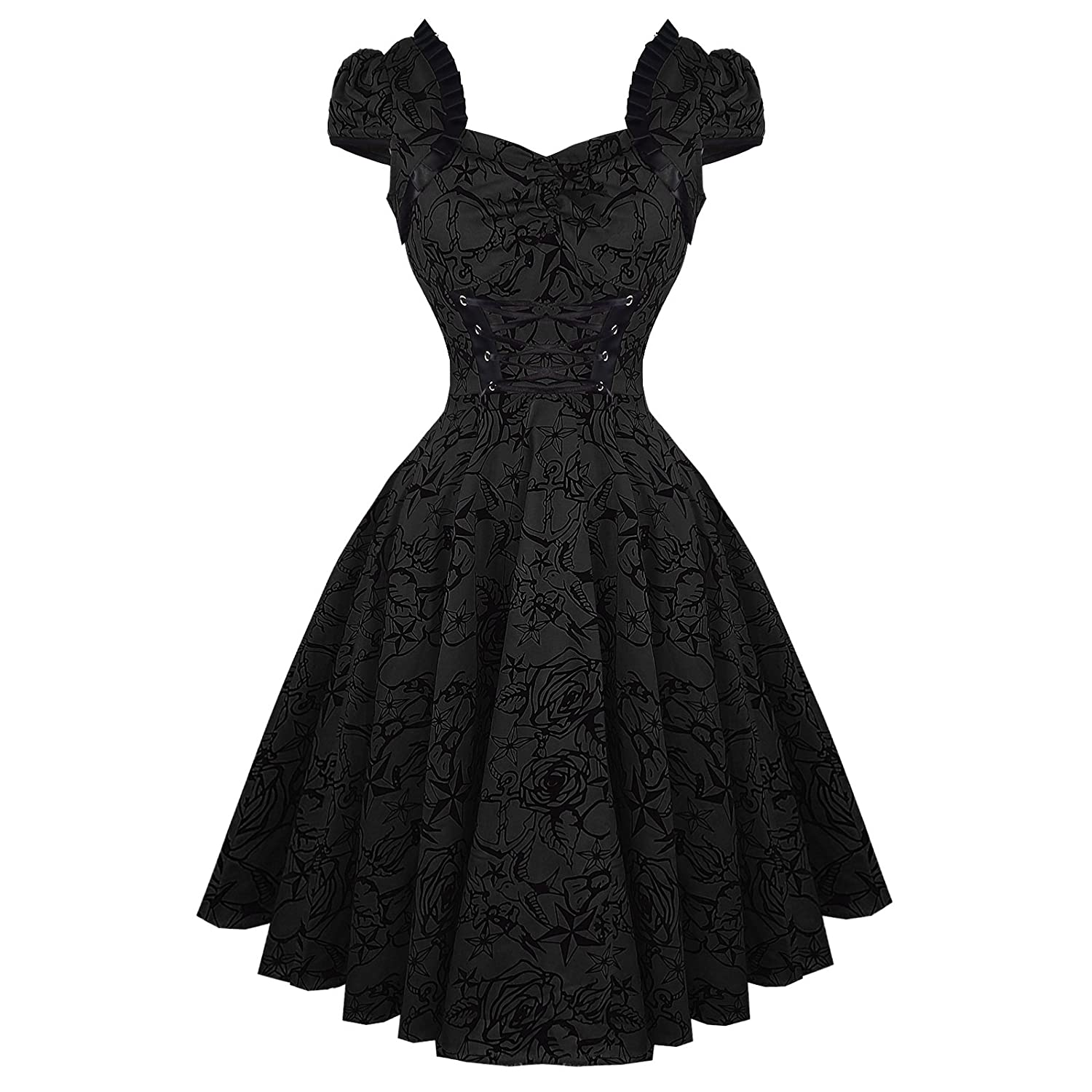1950s Swing Dresses Hearts & Roses London Black Tattoo 1950s Rockabilly Vintage Party Prom Dress Excellent Quality £29.99 AT vintagedancer.com