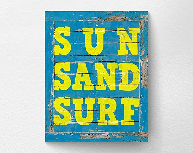 Amazon.com: Sun Sand Surf Rustic Beach Wall Art Print Decor, Beach ...