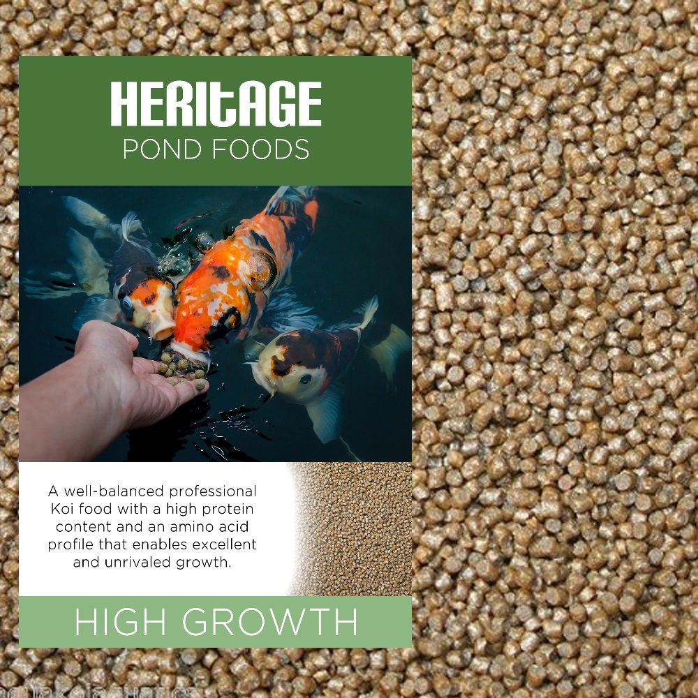 HERITAGE HIGH GROWTH PREMIUM KOI FISH FOOD PELLETS GARDEN POND FEED HIGH PROTEIN GROWER (10kg) Heritage Pet Products